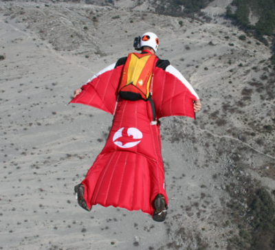 an air suit which makes you look like a flying squirrel and you get to